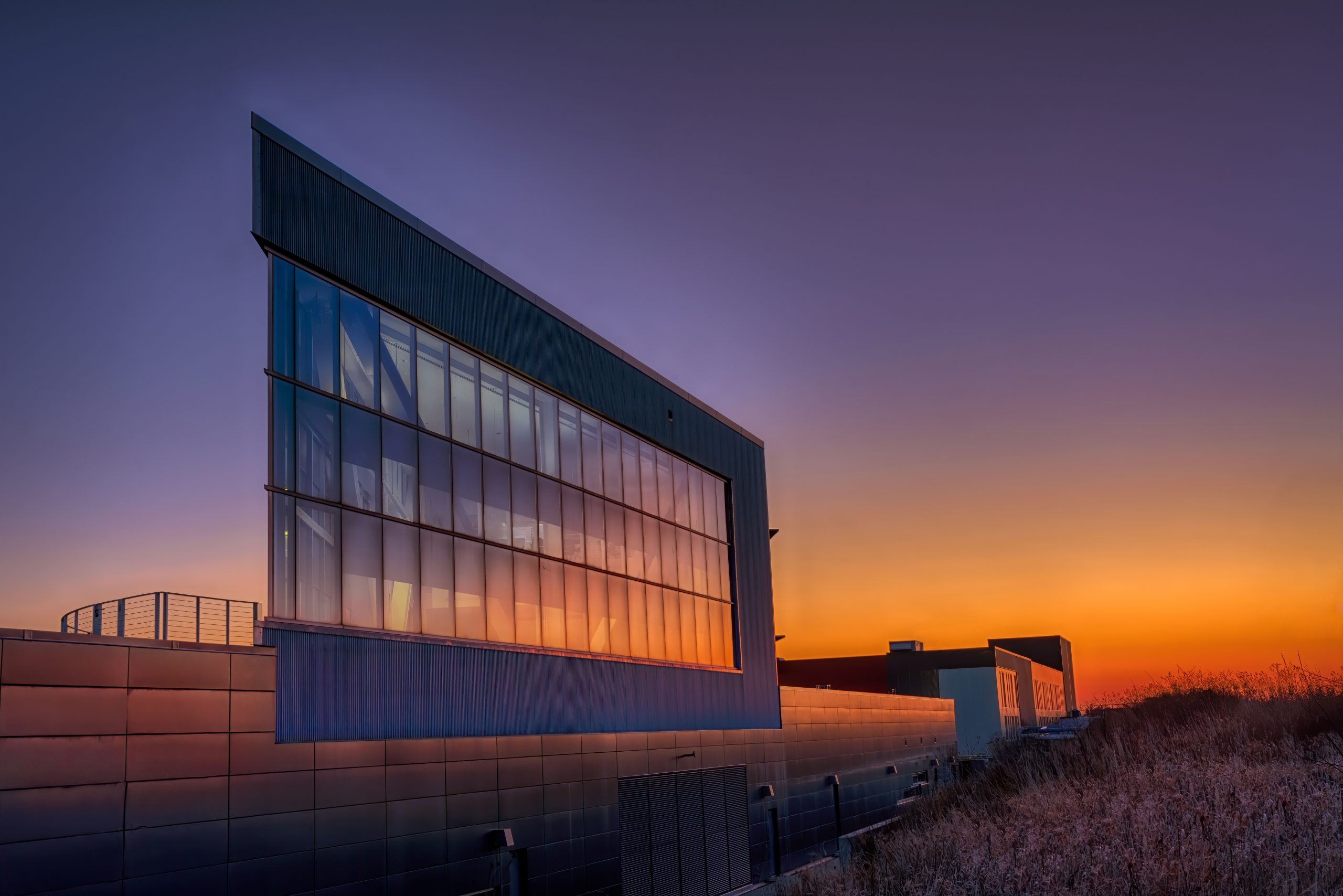 The sun greets the IARC Office, Technical and Education Building in February 2020. building, sun, sunrise, sky, landscape Photo: Tim Chapman