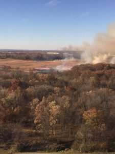 The fall prairie burn prepares the soil for winter and spring growth on Nov. 4. nature, landscape, prairie, autumn, sky, tree, woods, plant Photo: Albert Dyer