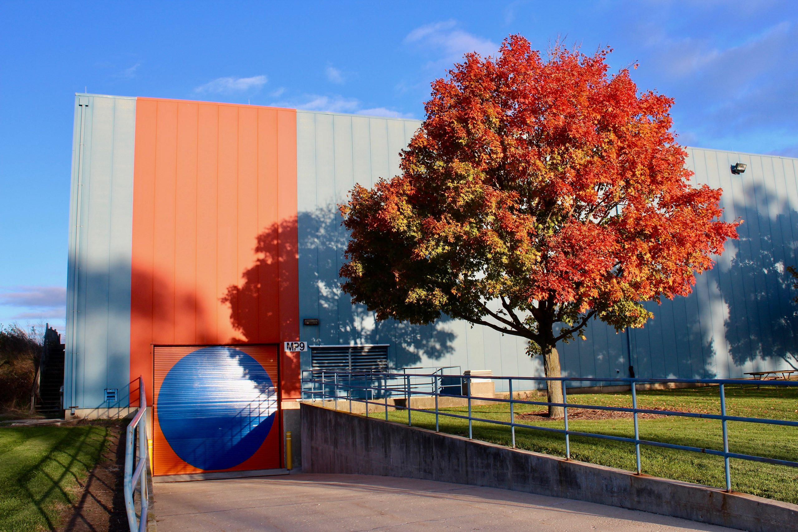 This beautiful Fermilab autumn tree was captured on Oct. 16, 2018. nature, landscape, plant, tree, fall, autumn, building Photo: Georgia Schwender