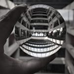 The Wilson Hall atrium is seen through a lens. everyday objects, building, Wilson HallPhoto: Donna Iraci