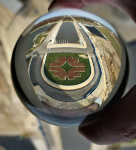 The horseshoe is captured through a lens from the 15th floor of Wilson Hall. building, everyday objects Photo: Donna Iraci