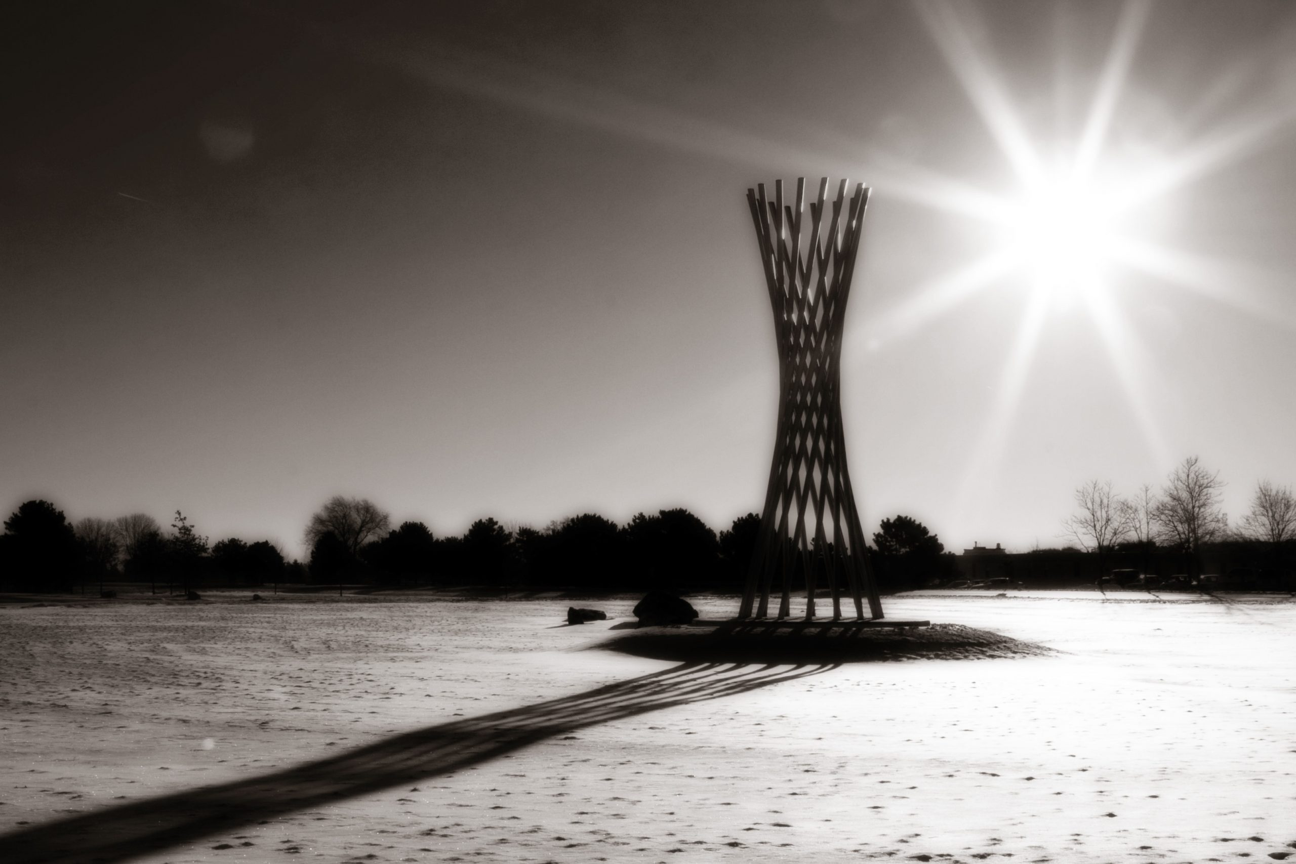 The sun rises over Tractricious on Dec. 4, 2008. sculpture, nature, Tractricious, sun, sunrise, sky Photo: Tom Nicol