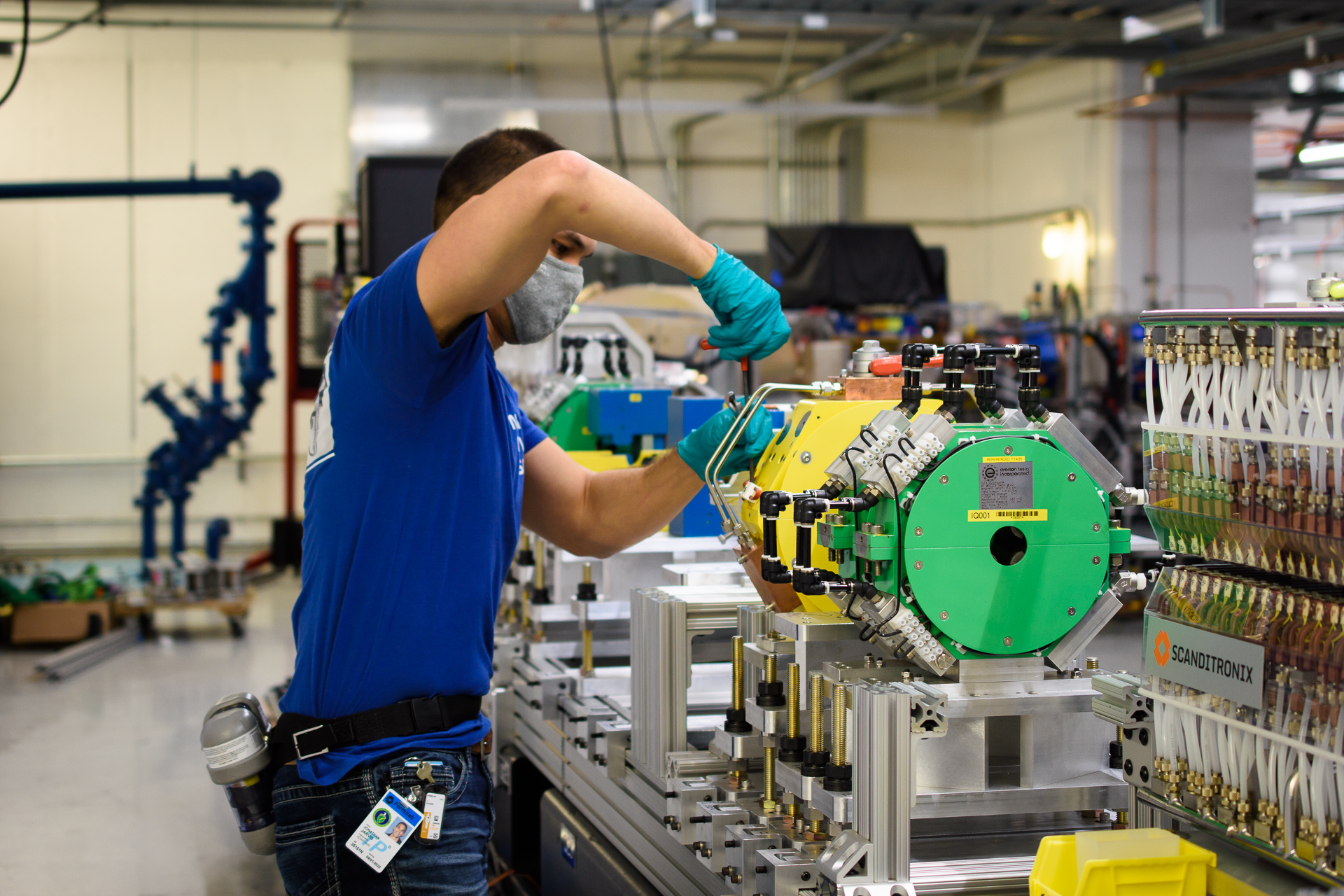 JJonathan Jarvis installs the apparatus for the for the OSC experiment on optical stochastic cooling in the Fermilab Integrable Optics Test Accelerator, known as IOTA, in November. The experiment uses infrared light emitted by electrons in an undulator magnet to sense and to adjust their positions and velocities. The goal is to demonstrate for the first time a significant increase in the density and therefore in the quality of charged particle beams using this principle. people, IOTA, accelerator science, accelerator Photo: Giulio Stancari