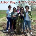 Fermilab employees plant trees on April 27, 2006. From left: Karen Carew, Colleen Yoshikawa, Barb Kristen, Ellie Arroyo-Weerts, Sue Schultz. All are now retired. people, lab life, ecology, environment Photo: Leticia Shaddix
