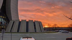 The sunrise over the Transfer Gallery lasted only a few minutes before dark clouds moved in and turned the sky gloomy in December 2020. sky, sunrise, campus, winter, cloud Photo: Dan Bollinger
