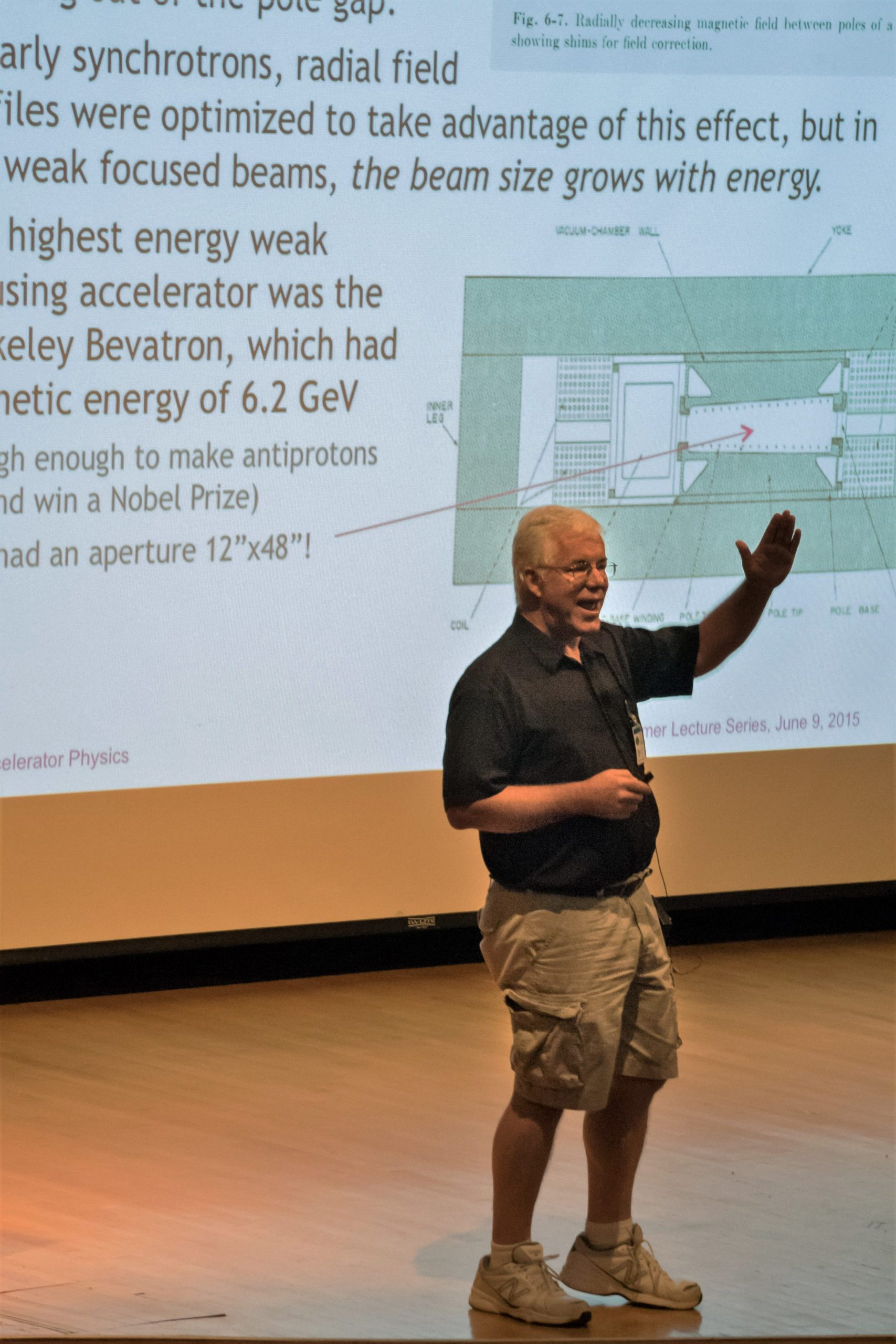 Eric Prebys gives a talk as part of the Undergraduate Lecture Series in the Ramsey Auditorium on June 19, 2015. people, talk Photo: Leticia Shaddix