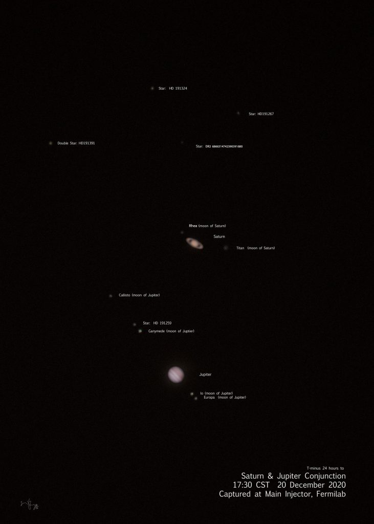 On Dec. 20, 2020, the great conjunction of Jupiter and Saturn is visible from the MI-14 service building. This annotated version of the original composite photo points out Jupiter's and Saturn's visible moons, as well as stars. The image is a composite of three sets of images taken with two different cameras on the telescope. astronomy, moon, star, sky, night, Jupiter, space, outer space, nature Photo: Marty Murphy