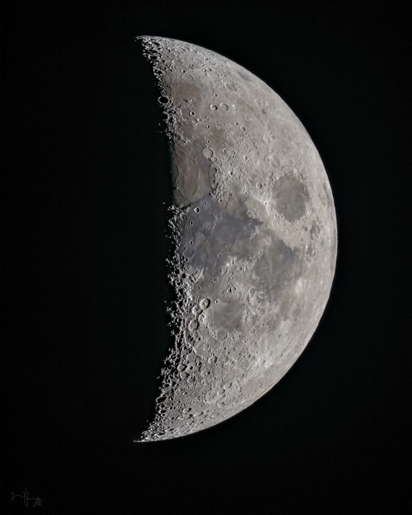 On Dec. 20, 2020, the waxing half-moon as seen during the Great Conjunction from outside the MI-14 service building on the Fermilab campus. sky, moon, nature, night, astronomy Photo: Marty Murphy