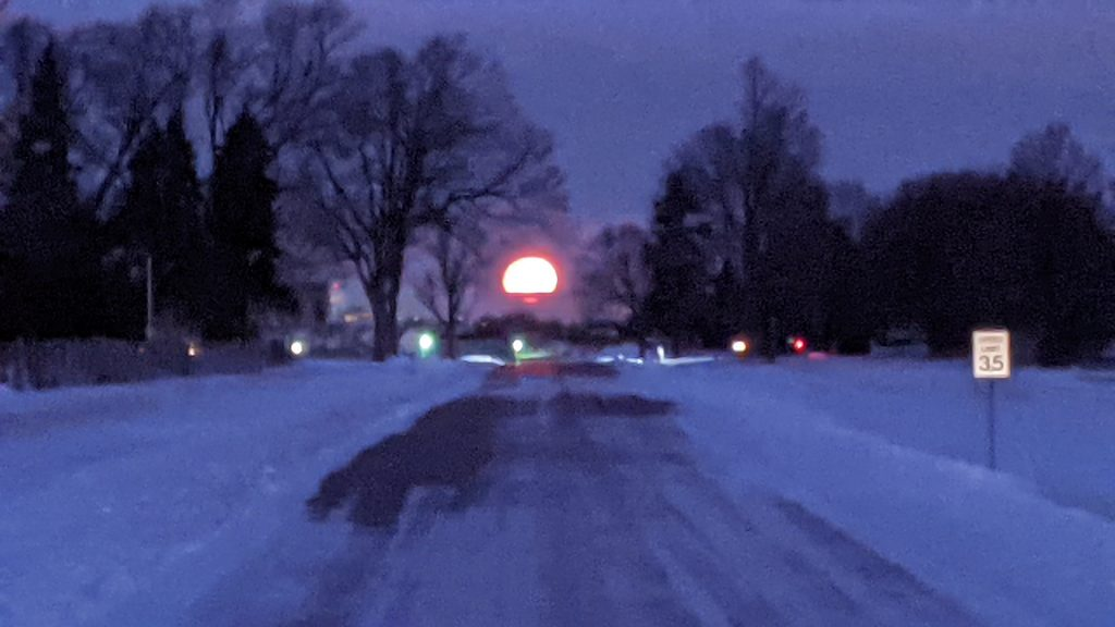 The moon sets over a snow-laced Batavia Road on a morning in January 2020. winter, moon, nature, Batavia, campus, tree, snow Photo: Dan Bollinger