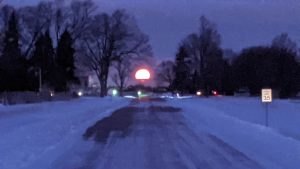 The moon sets over a snow-laced Batavia Road on a morning in January 2021. winter, moon, nature, Batavia, campus, tree, snow Photo: Dan Bollinger