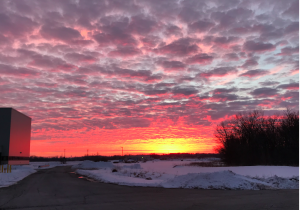 On Feb. 3, 2021, the western sky as seen from Fermilab. sunset, sky, campus, snow, winter, cloud Photo: Donatella Torretta