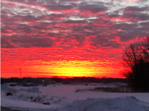 On Feb. 3, 2021, a fiery sunset blazes over the Fermilab campus. campus, landscape, nature, winter, sunset, cloud, sky, snow Photo: Donatella Torretta