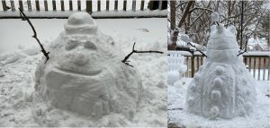 """""""Here (left) is my crappy blob snowman,"""" James Santucci says. """"Then my wife (Laura) turned it into an awesome5-foot-tall Dalek (right). I hate her."""" snow, event, winter Photo: James Santucci"""
