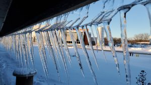 On Jan. 28, 2021, the Muon Campus as seen through icicles. ice, snow, weather, winter, campus, Muon Campus Photo: Patrick Sheahan