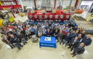 Building something as complex as a superconducting cryomodule takes the efforts of an entire team of scientists, engineers and technicians. This picture was taken in January 2020 in Fermilab's Industrial Center Building at the end of the SSR1 cryomodule assembly. PIP-II, people, superconducting technology, cryomodule, Industrial Center Building Photo: Lynn Johnson, Fermilab