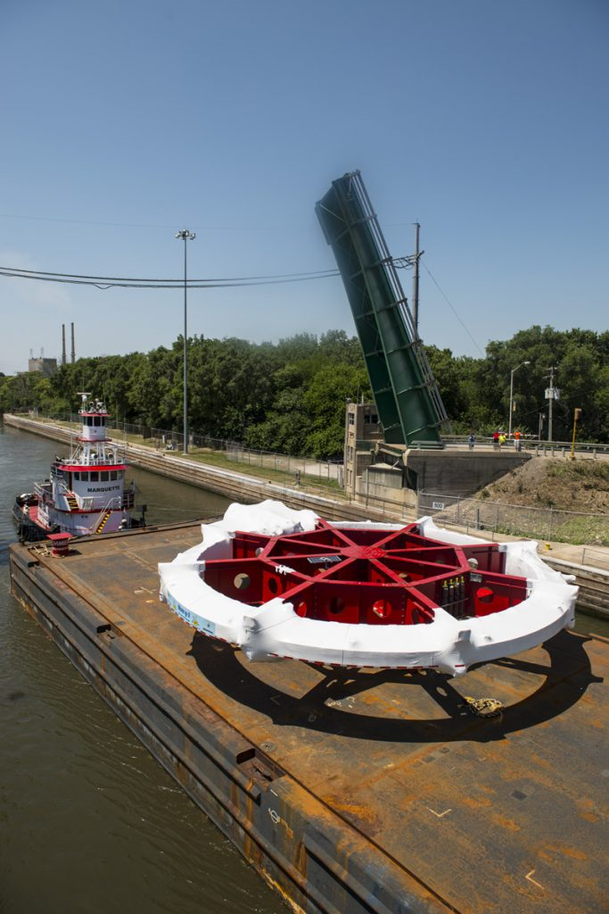On July 19, 2013, the Muon g-2 magnet ring was moving up the Illinois River on its five-week journey from Brookhaven National Laboratory (Long Island, New York) to Fermilab. Muon G-2, Brookhaven National Laboratory Photo: Reidar Hahn, Fermilab