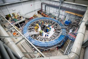 The Muon g-2 experiment at Fermilab received its first beam of muons in May 2017. experiment, Muon g-2, magnet, people, Photo: Reidar Hahn, Fermilab