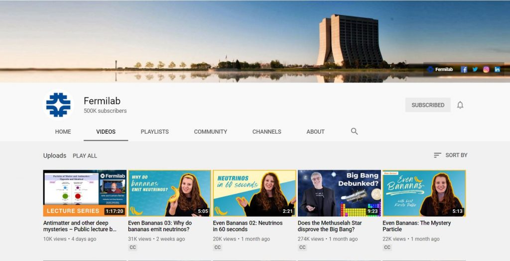 The Fermilab YouTube page has 500,000 subscribers. Image: Fermilab