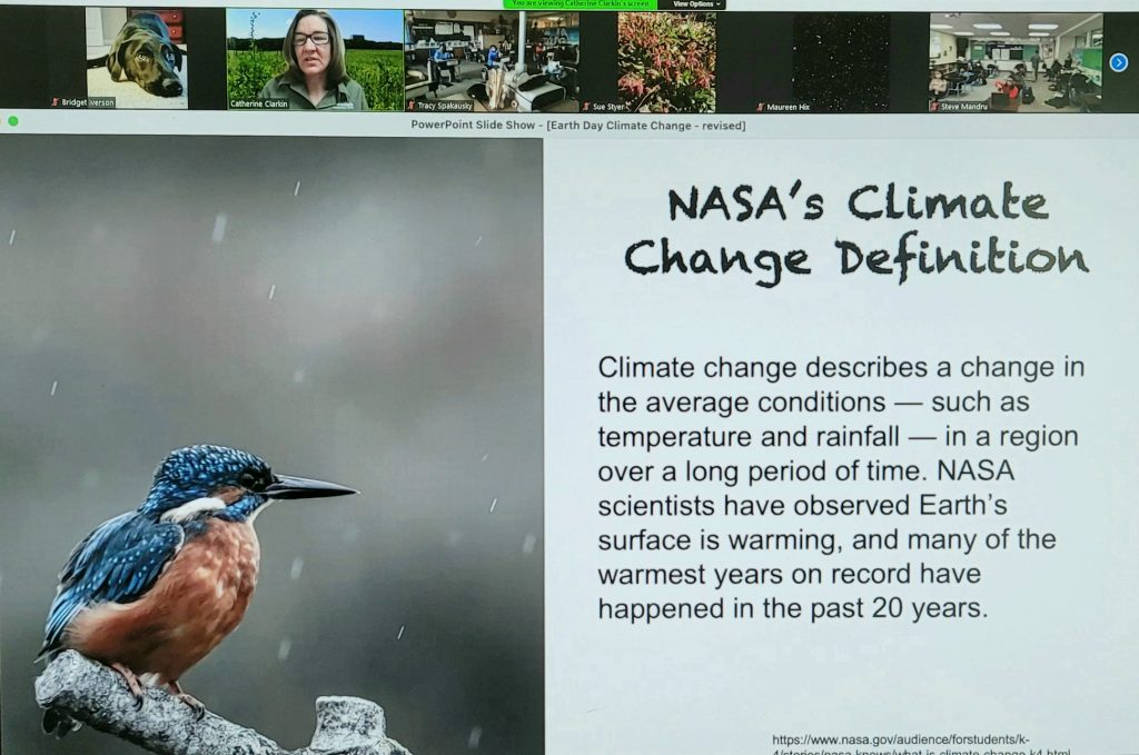"""A screen grab of a presentation on Zoom. The presentation slide has on the left a small bird with a longish black beak speckled blue feathers and a red cheek and belly balancing on a stick in precipitation. The text reads: """"NASA's Climate Change Definition: Climate change describes a change in the average soil conditions — such as temperature and rainfall — in a region over a long period of time. NASA scientists have observed Earth's surface is warming, and many of the warmest years on record have happened in the past 20 years."""" Across the top, a turtle, a woman in a green field, the inside of two offices, and avatar of plants."""