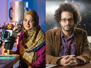 On the left, Portrait of a woman smiling beside a microscope in front of a purple background. Her right hand sits on a table and is holding a chip. She wears a mustard-colored floral hijab and fuschia top. On the right, Portrait of a man with dark curly hair and a short beard and mustache wearing glasses, a brown corduroy jacket, a red and blue plaid shirt. His hands are interlaced on the table in front of him. In the lower left corner, the keyboard of a laptop peeks out. He is in front of a starry background.
