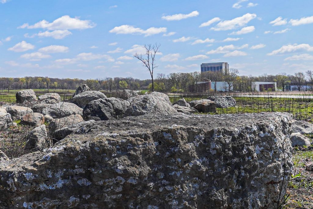 A large rock in the foreground with young trees and prairie underline a gray concrete 16-story-tall building in the right midground. Blue sky and white clouds above.