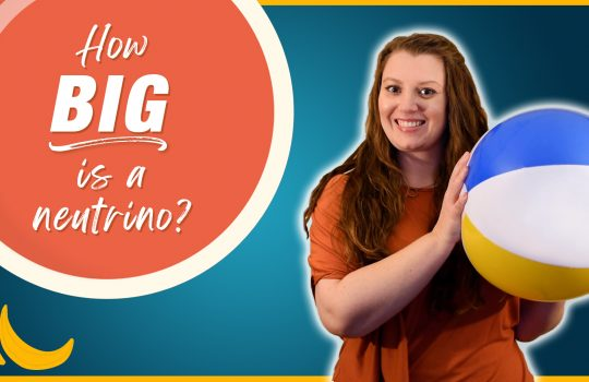 "Dr. Kirsty Duffy, a young woman with long hair, holds a large beach ball and smiles. An orange bubble has text with the question ""How big is a neutrino?"" beside her."