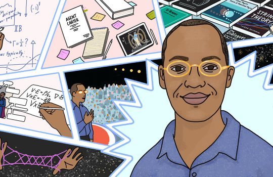 An image of a man in glasses and a purple shirt, Dr. Clifford Johnson, is overlaid on an illustration of comic strips. The panels include a hand writing equations on a whiteboard, an Agent Carter script, textbooks, and a male superhero talking to a person in a dress with the speech bubbles blank and formulas being written beside them.
