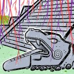 A cartoon-style illustration of a gray outdoor staircase with ornate serpents, tongues out, as the bannisters. Green grass in front, red and purple lightning shapes striking down all over the illustration.
