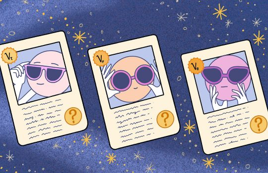 Three factoid cards, which look similar to playing cards or a baseball card, appear on a background of stars in a night sky (or in outer space) in a cartoon rendering. On each of the cards is a circle adjusted its sunglasses, presumably each a type of neutrino. Underneath these images on the cards are scribbles representing text and a question mark. In the upper left corner, the abbreviations for electron neutrino, a muon neutrino or a tau neutrino appear.