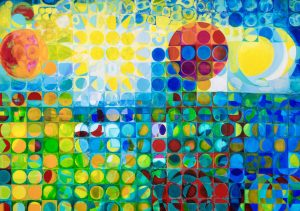 A landscape painting that is mosaic, almost batik-like, constructed of many small squares with circles circles inside them.