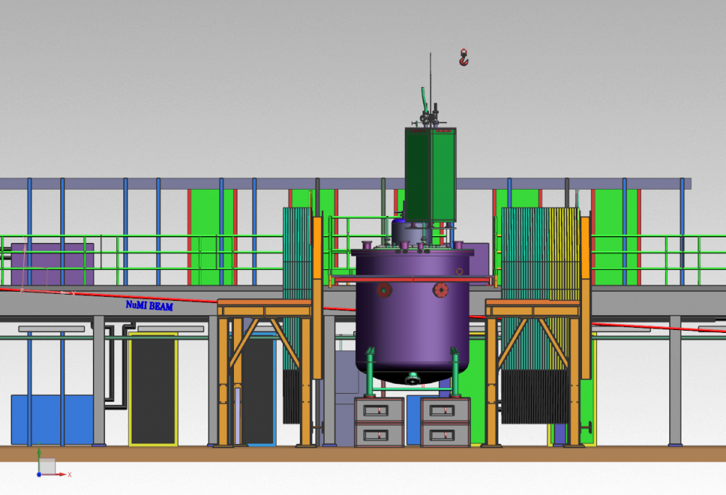 An illustration of a bright purple vat-like object with a bright green box above it. Yellow table-like structures flank the purple tank, which also appears to be held in place with a thin red band.
