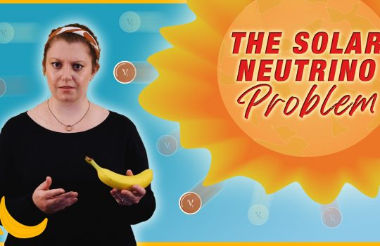 """A woman with a black shirt looks concerned and holds a banana in one hand. To the right of her, an illustration of a sun-like object that says """"The Solar Neutrino Problem"""" in the middle of it. An illustration of three bananas is in the right-hand corner. Different flavors of neutrinos appear to come out of the sun-like object. Two electron neutrinos are in dark brown, other neutrinos are light in shade."""