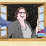 A woman opens a window from the outside and faces in. She has a brown bob and is wearing dark rectangualr glasses and light-colored earrings. In the background behind her, a starry sky. Waves come out from behind her and enter into the room. On the left, a purple, space-like wave. On the right a rainbow wave and a wave that has stripes the colors of the trans flag, blue, pink and white.