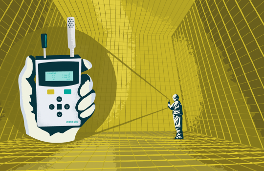 """An illustration. I person stands inside a giant, hollow gold cube and sends a signal using a device to another device on the left side of the screen that is close up and held in a hand. The close-up device says """"counting"""" and has some numbers. In the bottom right-hand corner, it says LBNF/DUNE."""