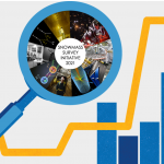 """An illustration of a blue magnifying glass with a pie chart of science-themed photo snippets and illustration snippets in its lens. At the center of that pie, reads """"Snowmass Survey Initiative 2021."""" Below the magnifying glass is a yellow graph line and various blue bars as in a bar graph."""