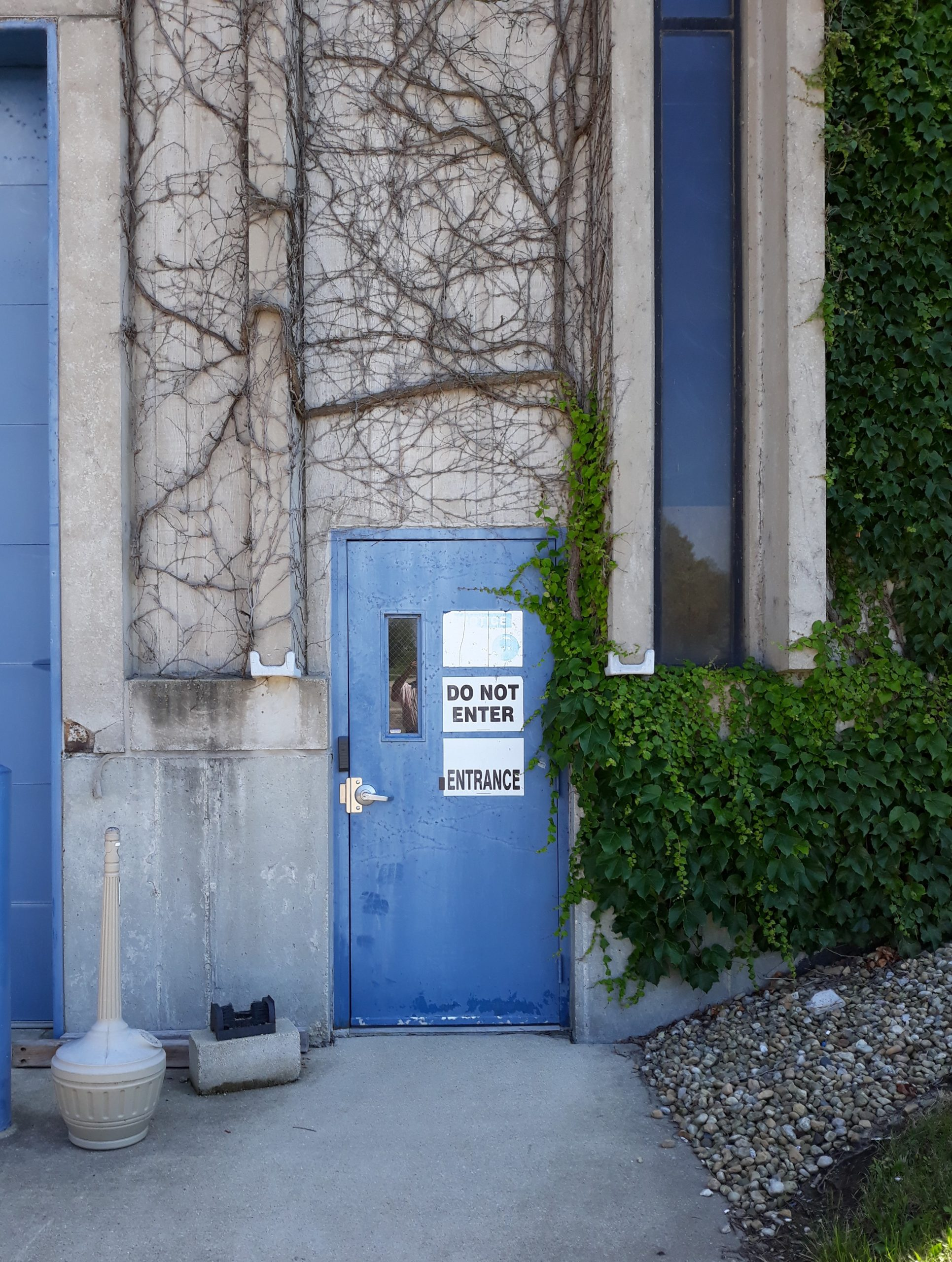 """Photo of a side of a concrete building, tight around a blue door. On the door, one sign that says """"Do Not Enter"""" and below it, another that says """"Entrance."""""""