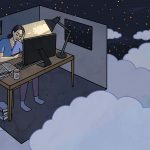 An illustration of a woman with dark hair head in hand, falling asleep at a desk in front of a computer monitor. A desk lamp signs on her. Her room has two walls missing and floats in the nightsky in a cloud.