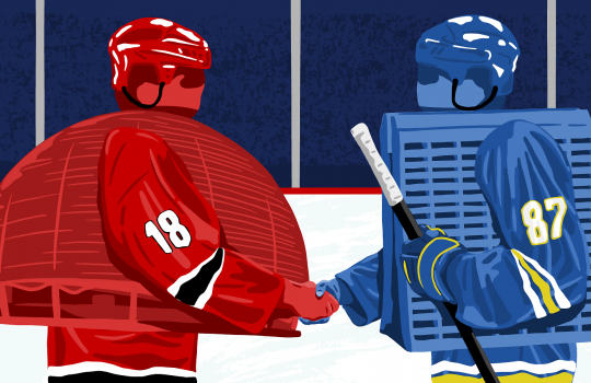 Two hockey players that resemble rock-em-sock-em robot toys shake hands on a rink. The one on the left is red and has a dome for a torso with the number 18 on the sleeve. On the right, the player is blue, with Fermilab's Wilson Hall as the torso and 87 on the sleeve. It holds a hockey stick.