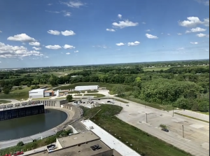 A view of Fermilab's Booster and Muon Campus from above.