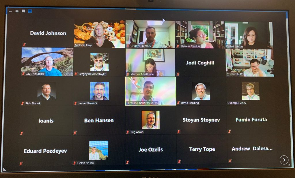 A screengrab of many participants on a Zoom call. About a third have cameras on, the rest are camera off.
