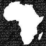 The silhouette of Africa cut out in white against a black background of equations