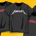 An illustration of T-shirts that look like metal rock tees with logos resembling Metallica's, Iron Maiden's, and so on, except the text reads MACHOs, axions, WIMPS and so on.