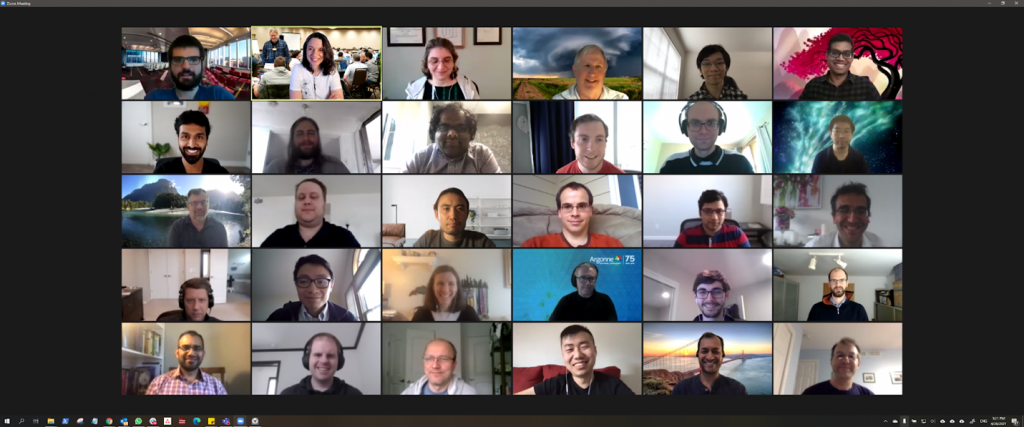 A screengrab of a grid of faces in a Zoom meeting.